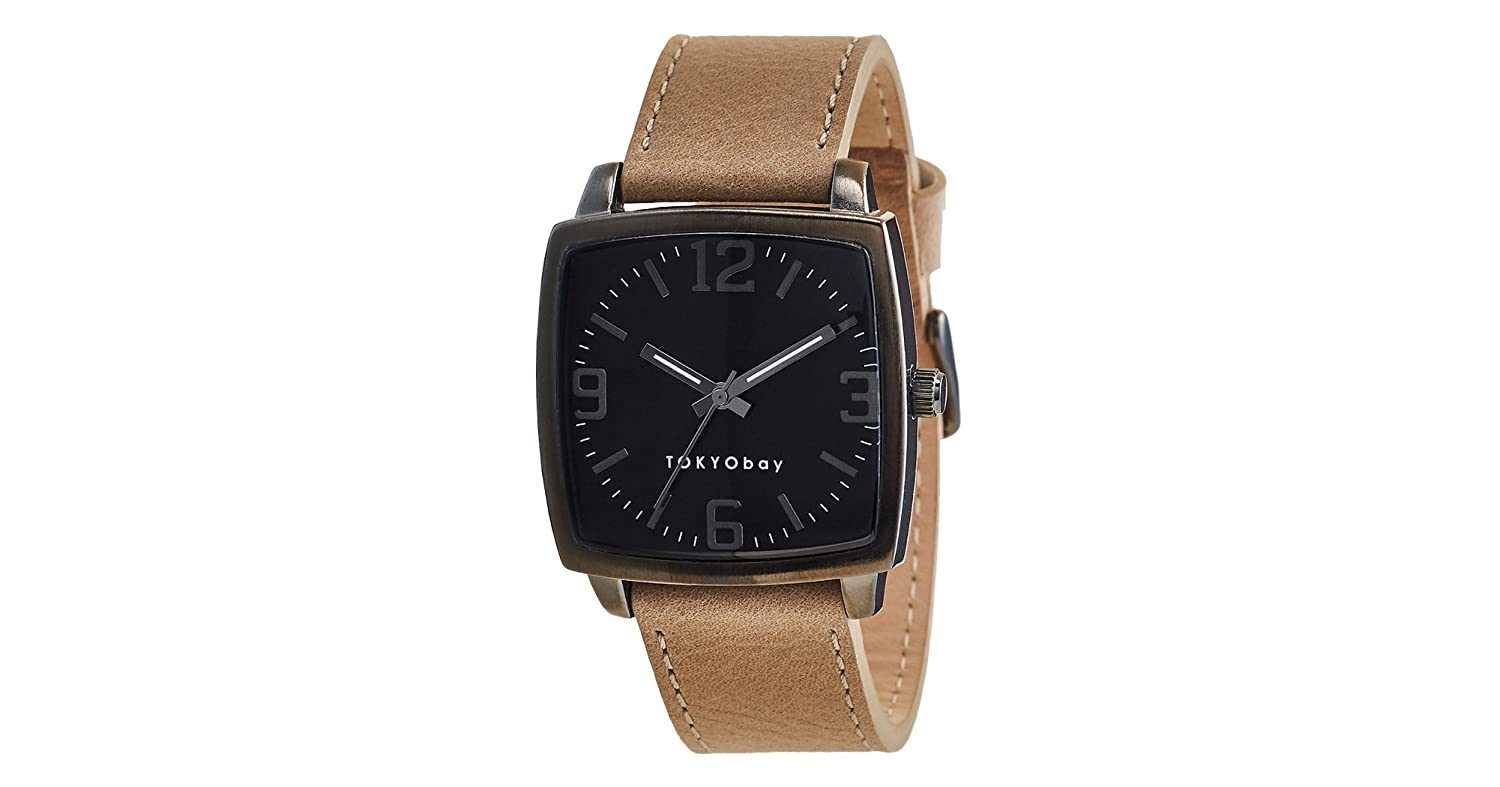 TOKYObay T621 NO Men's Stainless Steel Black Leather Band