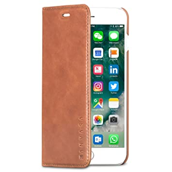 KANVASA Funda iPhone 8 Plus/Funda iPhone 7 Plus Tipo Libro Piel Marrón Case Cover Carcasa Plegable Cartera Pro en Piel Auténtica Premium para Apple ...