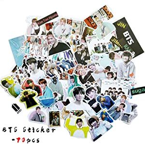 BTS Stickers for Laptop Luggage Bicycle Skateboard 70pcs Waterproof Stickers,Gift for Army Daughters (BTS-Sticker-70pcs)