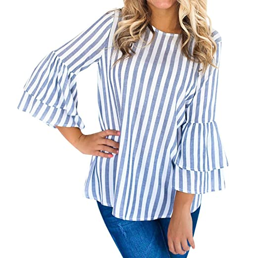 febfc021688 Amazon.com  Women Flared Long Sleeve Shirts Fashion O Neck Striped ...