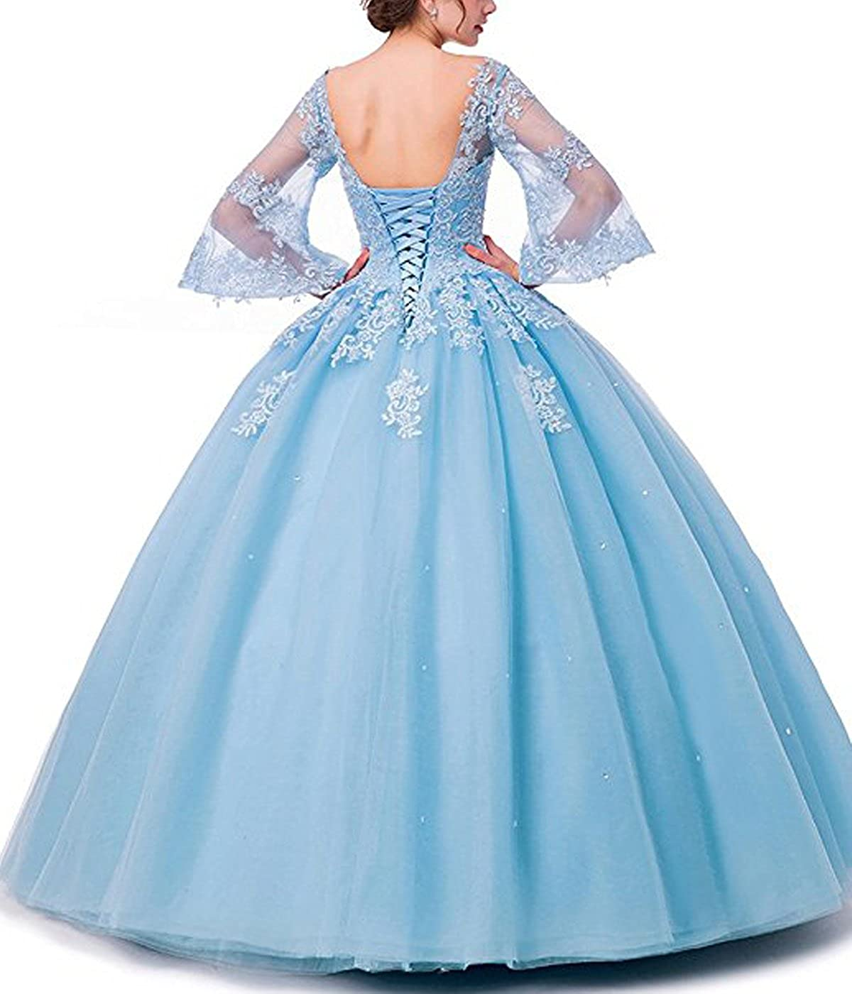 b0b4770d847 Long Sleeve Lace Quinceanera Dresses Ball Gown Formal Prom Dresses Princess  Gowns at Amazon Women s Clothing store