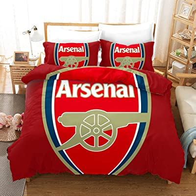 Vampsky UK Arsenal Football Club 3 Piece Quilt Set Bedding Sets Comfortable Lightweight Bed Sheet Set 100% Cotton for Teens Sports Duvet Cover with 2 Pillowcases Twin 3 Piece Christmas Bedding: Kitchen & Dining