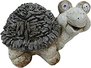 Alpine Corporation QWR676SLR Solar Turtle Statue w/LED Lights, 7 Inch Tall, Grey