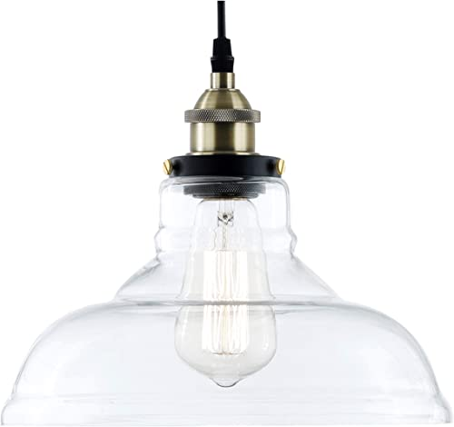 Light Society Classon Edison Pendant Light, Clear Glass Shade with Antique Brass Finish, Vintage Modern Industrial Lighting Fixture LS-C171