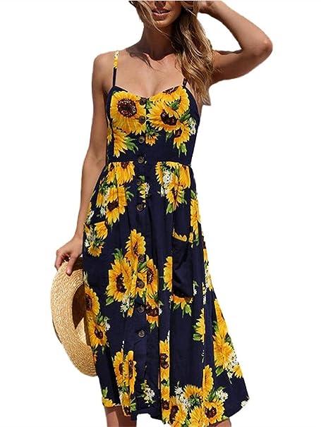 Vestido Midi, Botines de Correa de Espagueti Bohemio Florales de Verano de Las Mujeres Abajo
