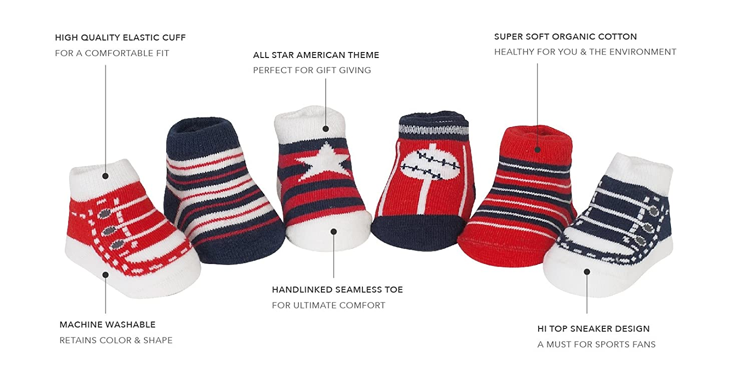 81f07717fa8 Amazon.com  Country Kids Baby Boys  USA Stars Stripes Flag Baseball Holiday  Stocking Socks