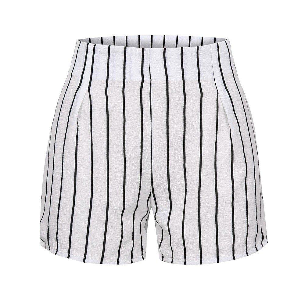 Hemlock Women Stripe Print Shorts Zipper Slim Pants Ladies Summer Work Short Trousers Overalls Casual Hot Pants White
