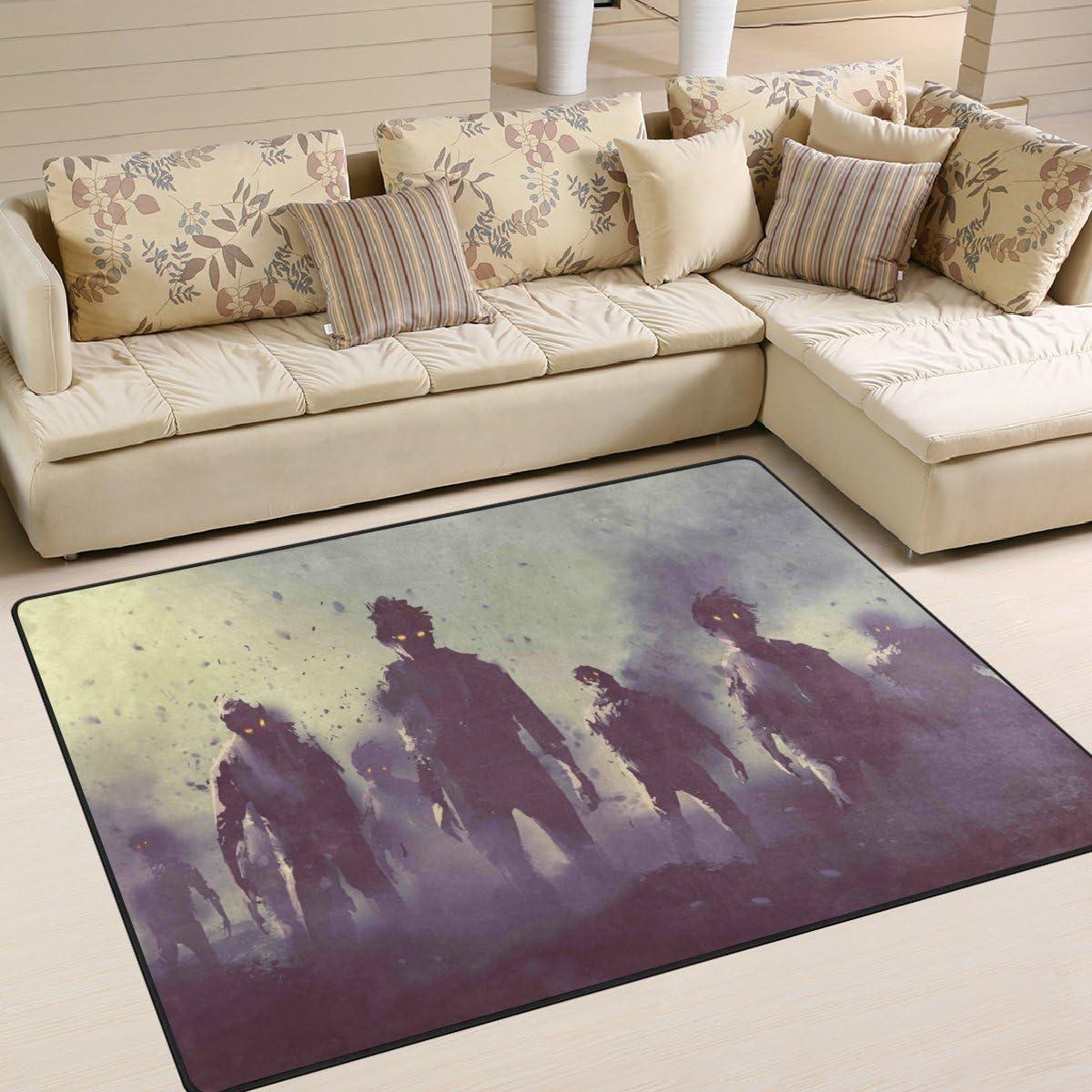 SAVSV Large Area Rugs Zombie Crowd Walking at Nigh Printed,Lightweight Water-Repellent Floor Carpet
