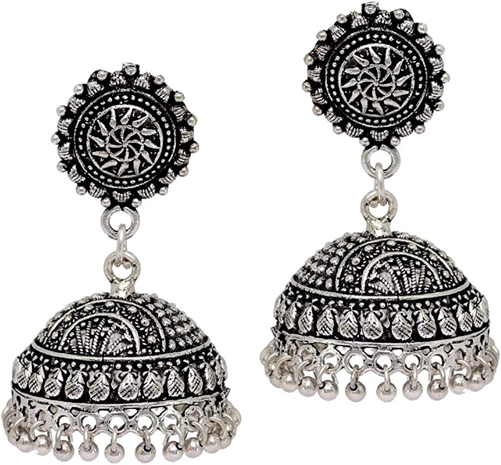 Oxidized Jhumkas,Antique look Jhumkas Earrings,Indian Jhumkas Earrings,Medium Big Size Jhumkas Earrings,Silver Plated Earrings