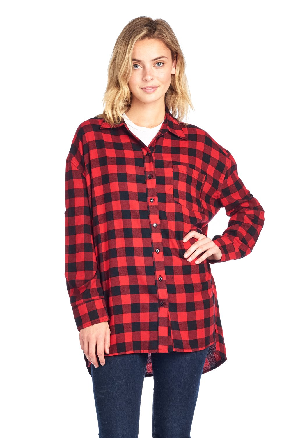 ICONICC Women's Plaid Oversize Button Down Top with Front Pocket (K1001_RED_S)