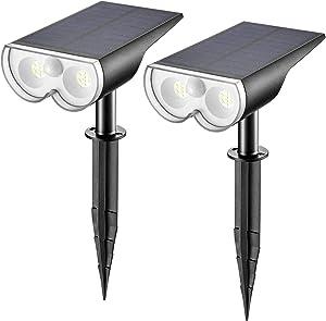Linkind LED Solar Motion Sensor Landscape Spotlights, Max 650lm IP67 Waterproof Outdoor Landscape Lights Wireless Solar Powered Lights for Garden Yard Driveway Porch Walkway, 2 Pack, Cold White