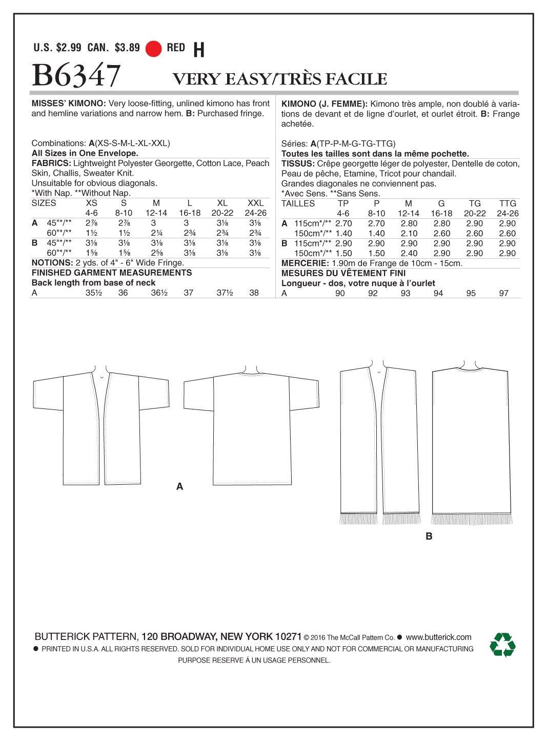 Butterick Patterns 6347 a Kimono de Tallas XS - 2 x l, Color Patrón ...