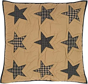 VHC Brands Teton Star Quilted Euro Sham 26x26 Country Patchwork Design, Navy and Tan