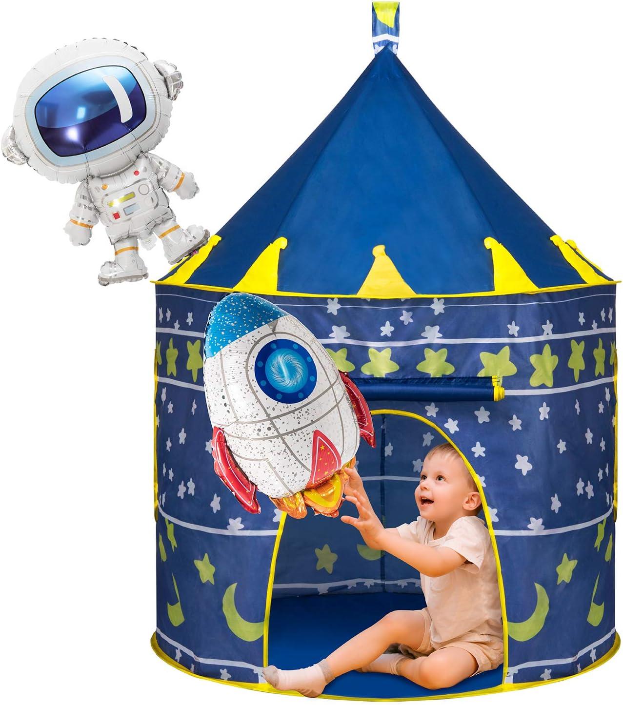 Joyjoz Tienda para Niños con Dos Globos, Carpa Espacial Pop Up de Casa Plegable, Juguetes de Castillo para Juegos de Interiores y Exteriores