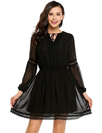 b5e6a9f9e558 Cidere Women Sexy Lace Dress Ruffled Collar Long Sleeve Flounce Dress at  Amazon Women's Clothing store: