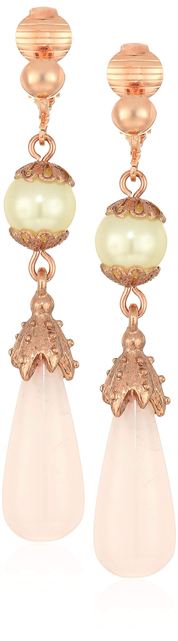 1928 Jewelry Women's Rose Gold Simulated Pearl/Rose Quartz Clip Earrings, Pink, One Size