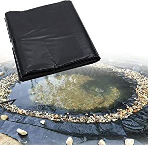 jxgzyy 20 Mil Rubber Pond Liner - 16.4 ft x 19.7 ft HDPE Black Pond Skins Liner for Fish Ponds, Streams Fountains and Water Gardens