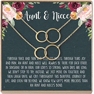 Holiday Necklace 2 Interlocking Circles Dear Ava for Aunt: Present Aunt Gift Idea Xmas Gift