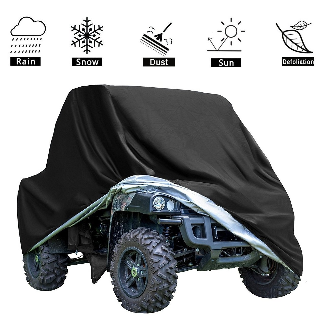 VVHOOY UTV Cover Waterproof All Weather,Heavy Duty Oxford Utility Vehicle Storage Cover for Polaris RZR Pioneer Yamaha Honda Kawasaki Rhino Ranger Mule and More (114.17 x 59.06 x 74.80inch) (Black)
