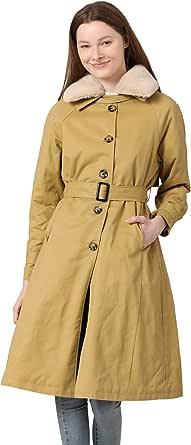 shineflow Women's Lapel Faux Fur Fleece Lined Parka Warm Winter Shearling Coat Leather Jacket