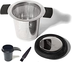 GOLDTONE Stainless Steel Tea Filter, Tea Infuser Strainer with Silicone Handle and Silicone Drip Tray Lid, Tea or Coffee Filter, Includes 1 OZ Scoop And Micro Cleaning Brush (Silver)