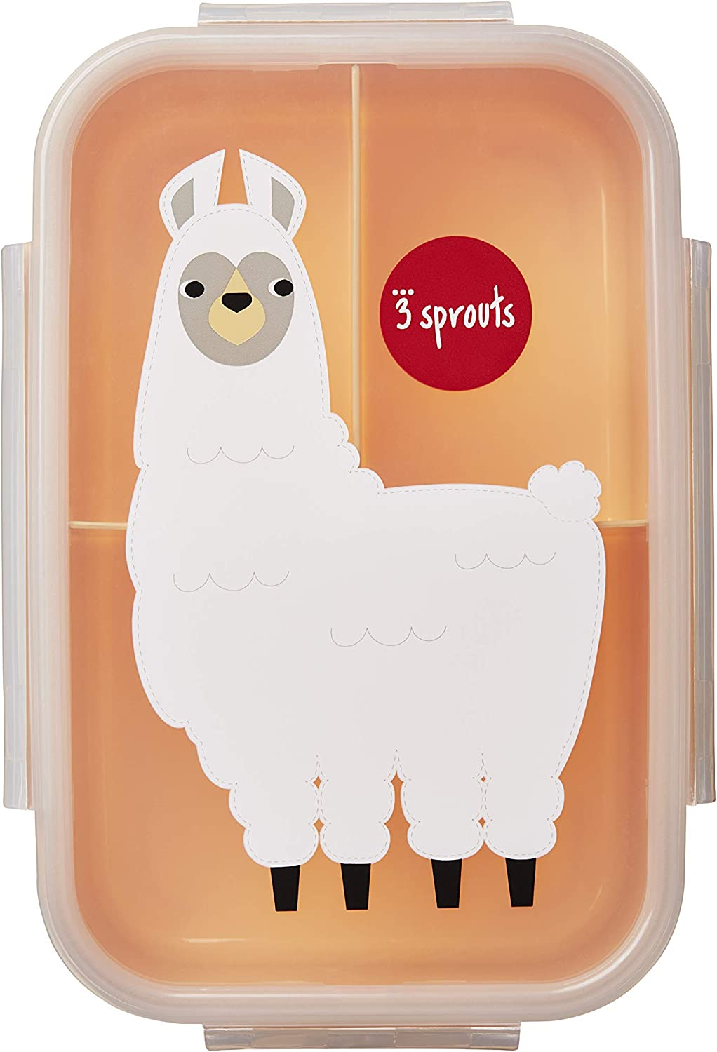llama 3 Sprouts Lunch Bento Box 3 Compartment Lunchbox Container for Kids