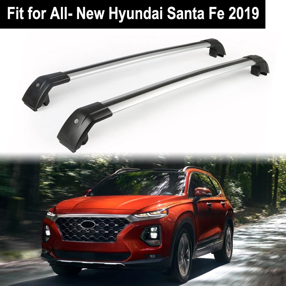 Lockable Roof Rack Crossbars Cross Bar Fit Hyundai Santa Fe 2019 Baggage Luggage Rail - Silver KPGDG