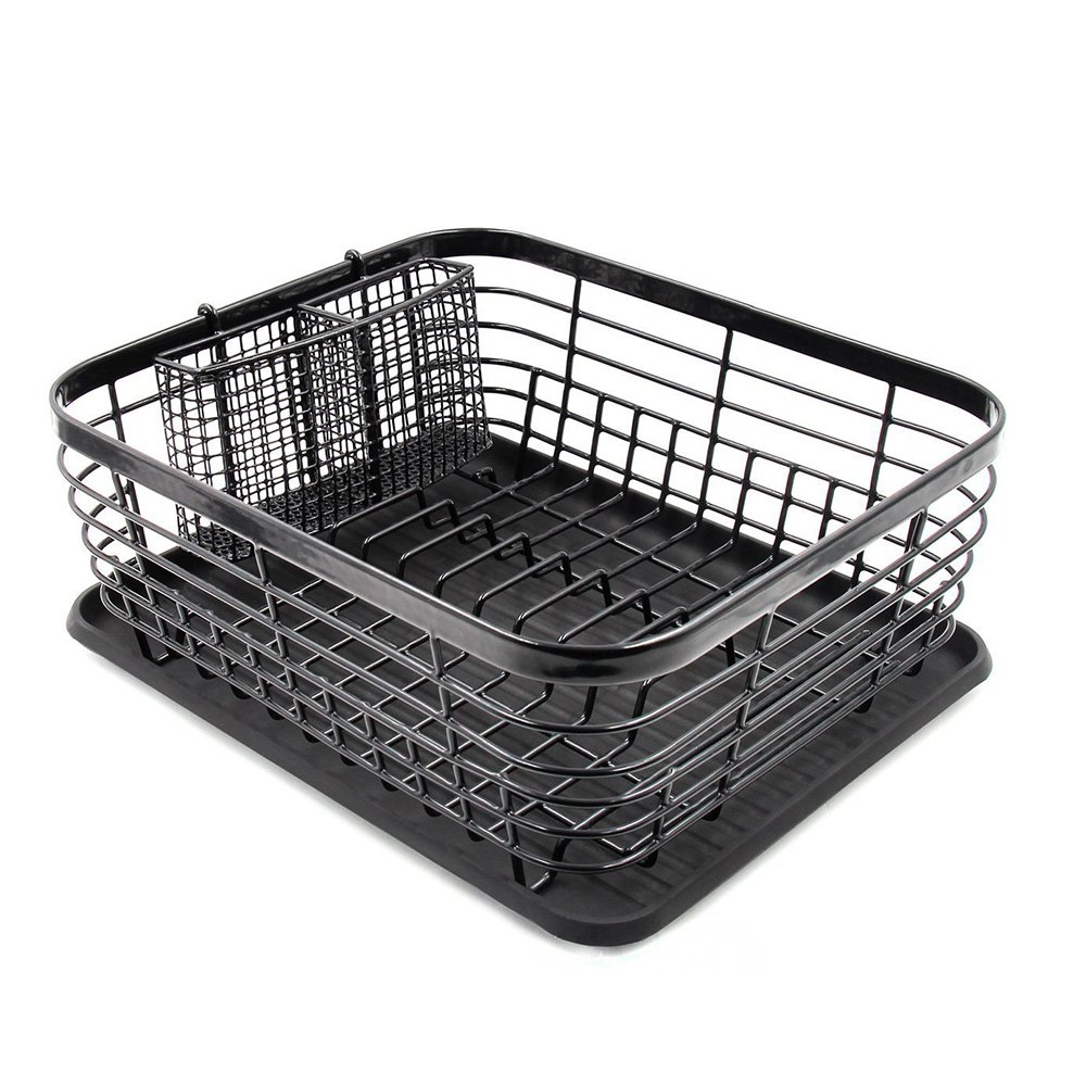 Alapaste Kitchen Dish Drainer Drying Rack Big Capacity Stainless Steel Dish Rack Rustproof Kitchen Cup Drainer Holder with Removable Full-Mesh Storage Supplies Basket (Black)