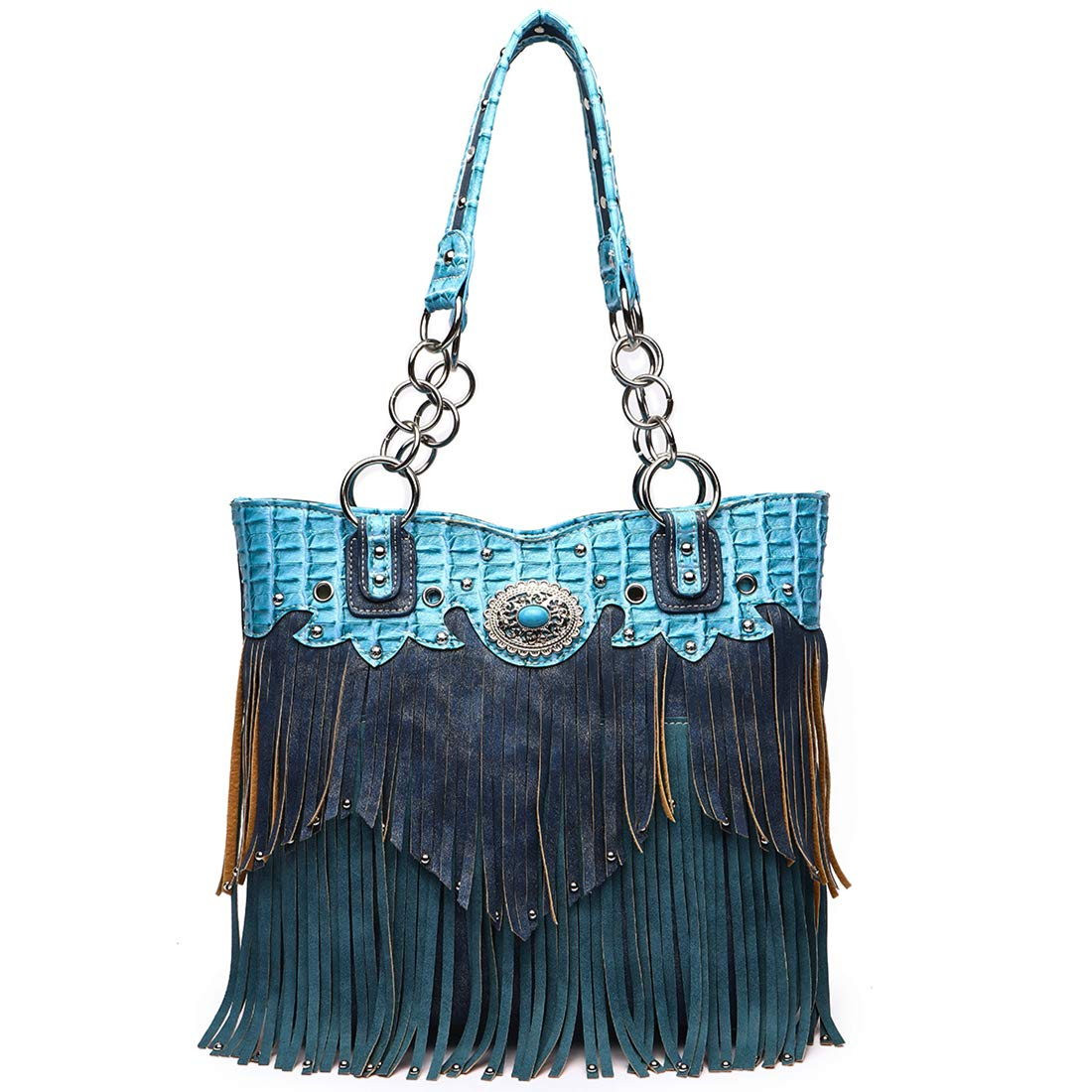 Western Style Fringe Handbag Concealed Carry Purse Country Large Tote Conchos Purse Women Shoulder Bag (Turquoise)