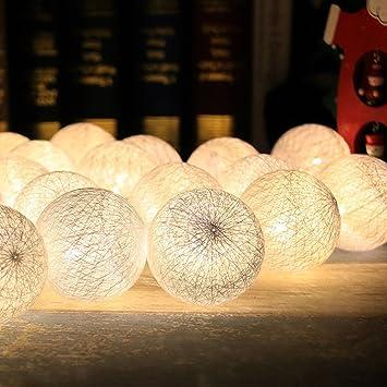 Cadena de Luces para Algodón Bola, Morbuy Decoración LED Blanco Cálido Guirnalda Luminosa Pilas 6cm Bola Hada Noche 30 Luz para Las Fiestas Jardines Casas Bodas (4.8M / 30 Luces, Simple White):