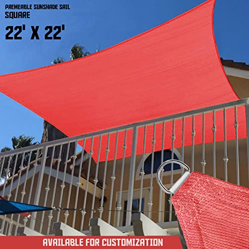 TANG Sunshades Depot 22' x 22' Sun Shade Sail Square 180 GSM HDPE Permeable Curved Edge Canopy Red Custom Commercial Grade Standard