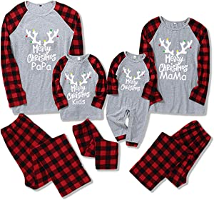 DaMohony Christmas Family Matching Clothes Long Sleeve Shirt Pants Baby Romper Homewear Xmas Pajamas Set Red Grid Gray Background Stitching Christmas Parent-Child Outfit
