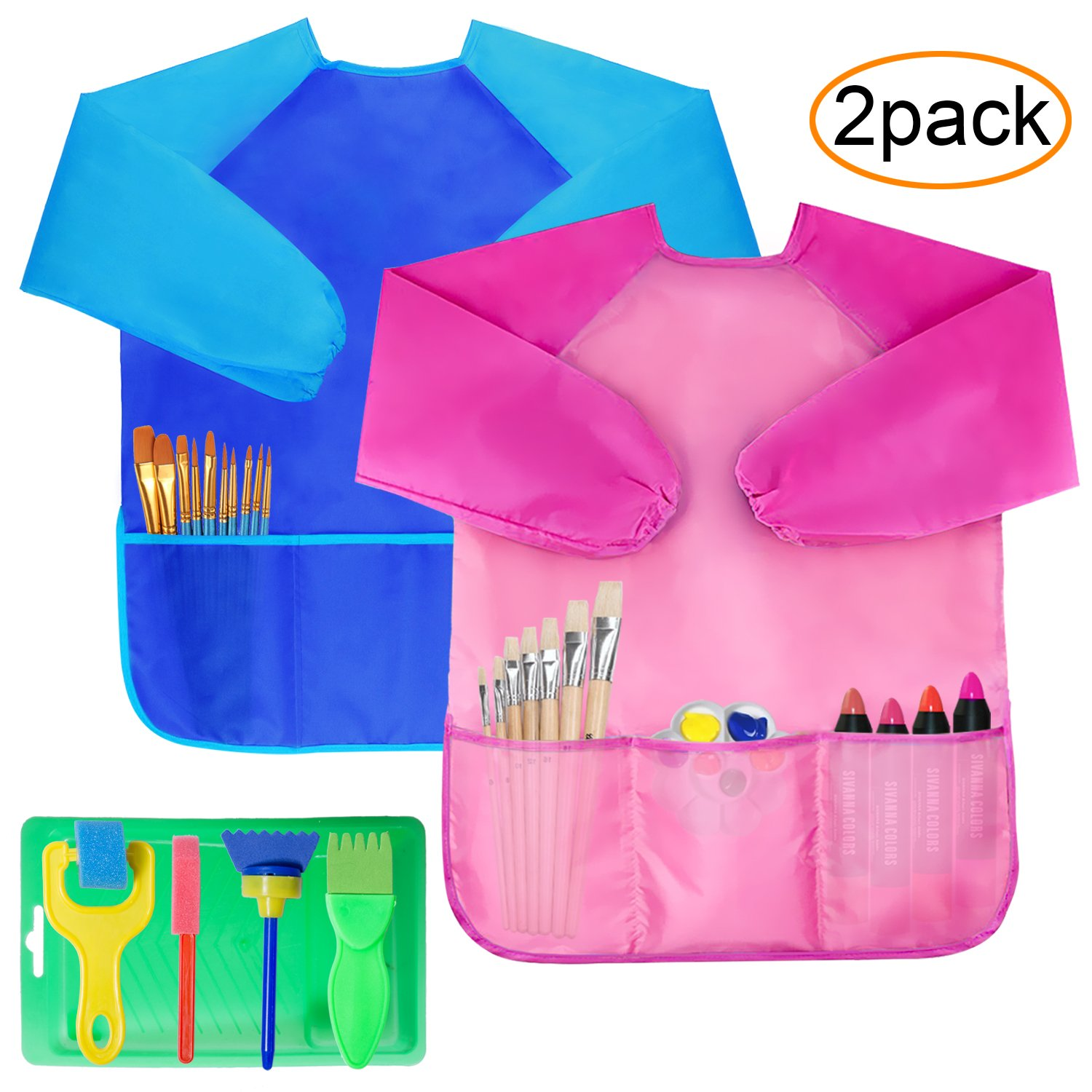 Fullsexy 2 Pack Kids Art Smocks, Children Waterproof Artist Painting Aprons Long Sleeve with 3 Pockets, Including Kids Sponge Painting Brushes Kit