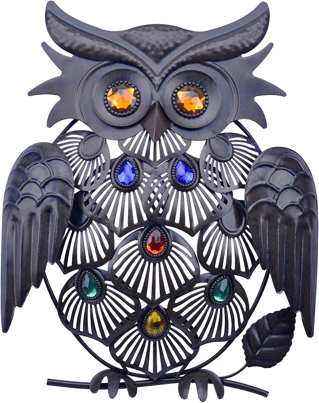 SVEIKS Metal Owl Wall Decor Hanging for Indoors or Outdoors (Red Copper)