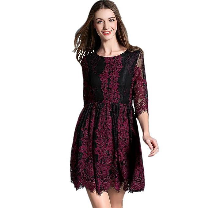 SONGQINGCHENG Nueva Mujer Verano Negro Rojo Pista De Encaje Elegante Vestido  De Manga 3 4 Oficina Delgado Vestido De Color a3dd642f99c9