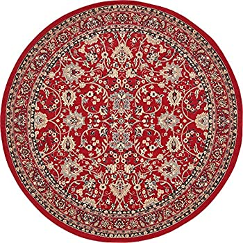 A2Z Rug 8-Feet-Round Covent Garden Persian Traditional Design Rug, Red