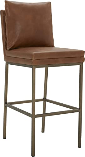 Amazon Brand Rivet Lundberg Contemporary Faux Leather Barstool with Brass Legs, 44.5 H, Brown