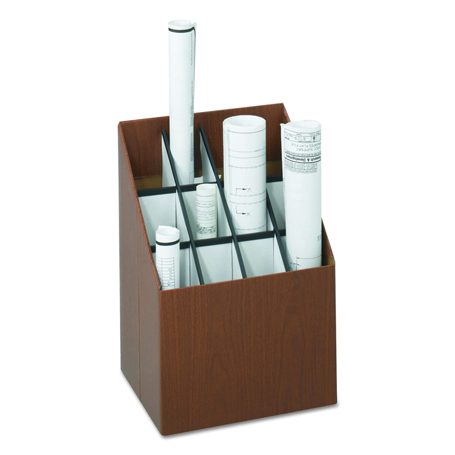 Safco Upright Roll Storage File -12 Roll(s) -Fiberboard -1 Each -Wood Grain S.P. Richards CA 3079