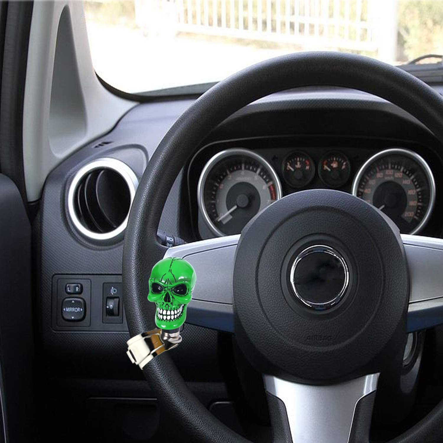 Bashineng Car Spinner Skull Power Handle Suicide Control Knob Fit Most Steering Wheel Red Pattern