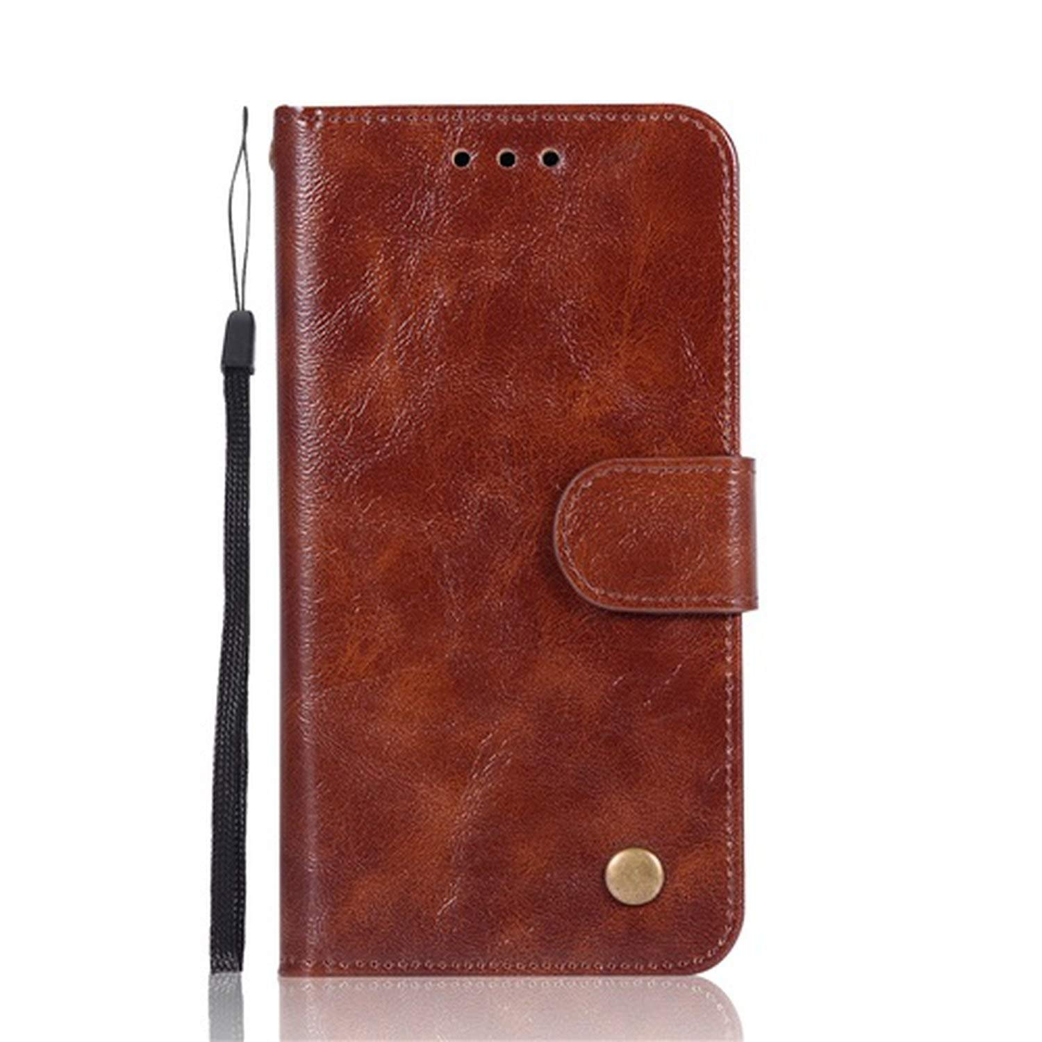 Retro Genuine Leather Flip Case for LG V30 K10 2018 G6 Q6 Q8 Stylo 2 3 4 Plus X G7 ThinQ Power Style Wallet Cover Purse,Brown,for LG Q8
