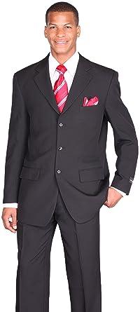 089990b2f1ab04 Milano Moda Men's 3 Button Single Breasted Dress Suit 802-Black -36Long-30Pants