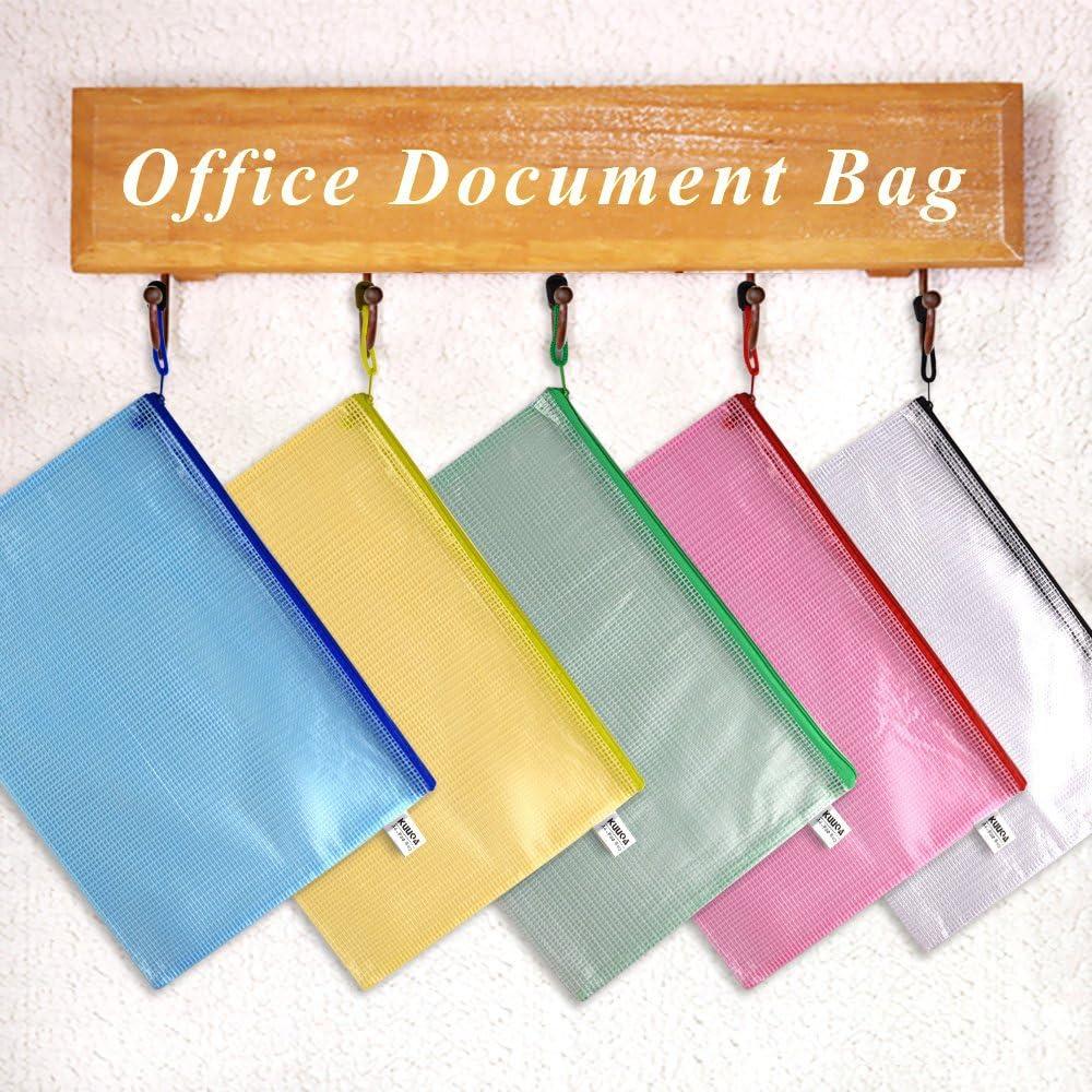 Kuuqa 6 St/ück Zipper File Taschen a4 Mesh Dokument Taschen Zip Folder f/ür Schulb/üro Hausaufgaben Speicher Farbe Taschen