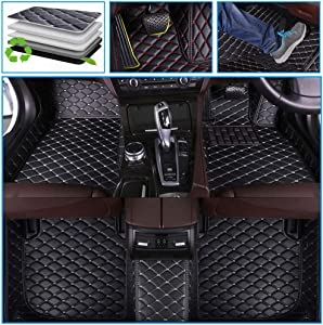 Muchkey car Floor Mats fit for Land-Rover Range Rover 5-Seats 2014-2016 (Extended Version, has outlets in The Rear) Full Coverage Non-Slip Leather Floor Liners Black-Beige