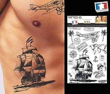 Tatuaje Ephemere temporal viaje avión palmera barco ancla ...