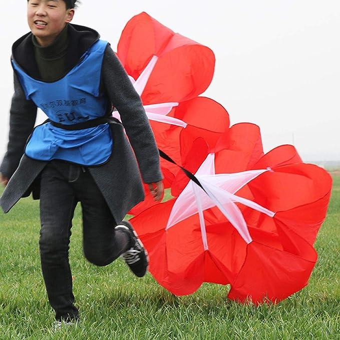 Bestlymood Football R/ésistance Parachute Entra?Nement de Vitesse R/ésistance Parachute Courir Explosif Fournitures pour Entra?Nement de Force Physique de la Jambe Parapluie de R/ésistance