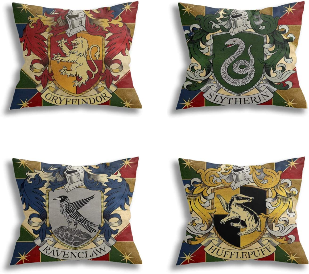 Akyuu Harry HogwartsSchool Potter Pillowcases, Set of 4 HarryPotter Pillow Covers for Home Decor Room Couch Sofa Bed 18x18 in