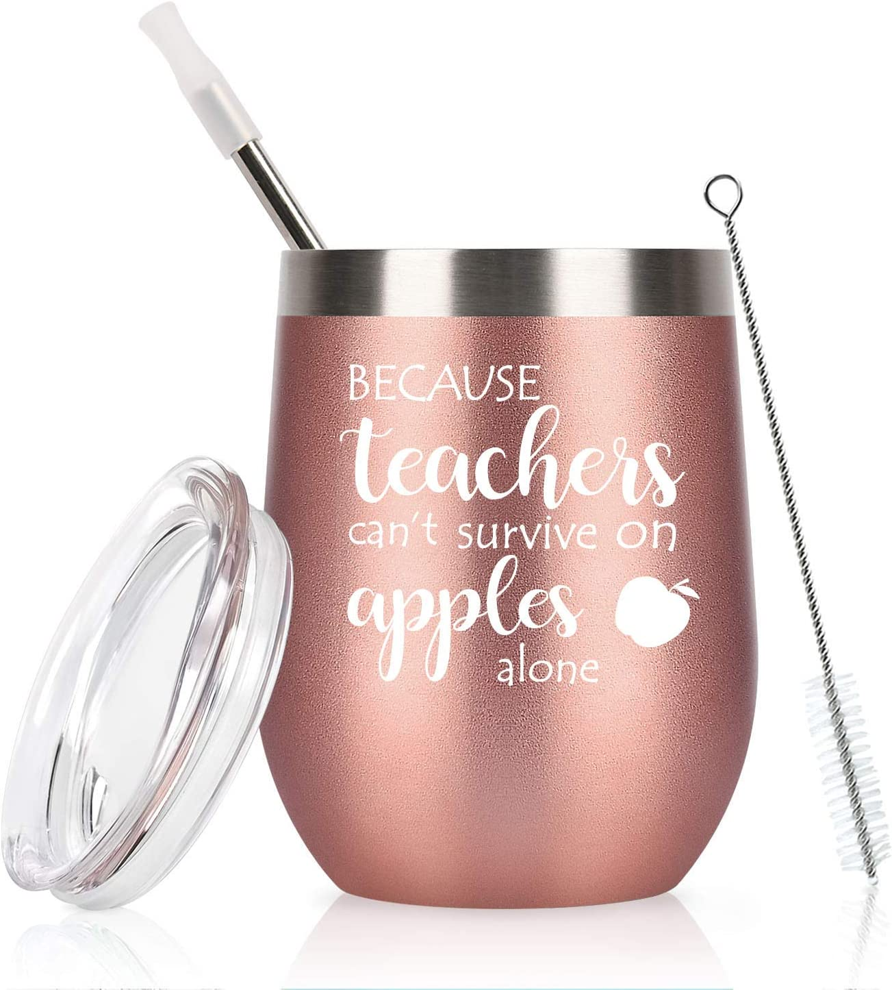 Funny Teacher Appreciation Gifts, Teachers Can't Survive on Apples Alone Wine Glass for Women, End Year Thank You Gifts for Teacher, 12 Oz Stainless Steel Wine Tumbler with Lid, Rose Gold
