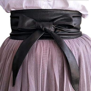 Ceinture Femmes en Cuir Bande Large Souple Uni Accessoire Chic pour Robe ( noir) 372425e8190