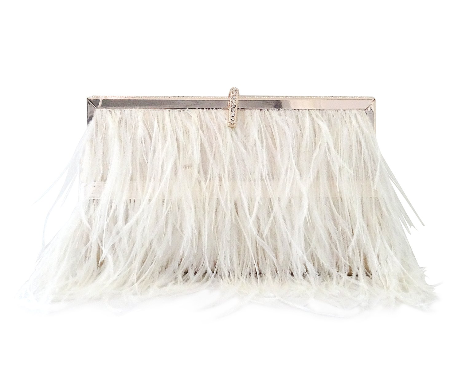 Zakia Real Natural Ostrich Feather Evening Clutch Shoulder Bag Party Bag (Beige-B)