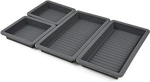 Gear Gurus Baking Pan Dividers - Silicone Baking Trays, Sheet Pan Cooking, Nonstick 4 Piece Set, Reinforced Rims, Ribbed Bottoms, Oven Dishwasher Safe